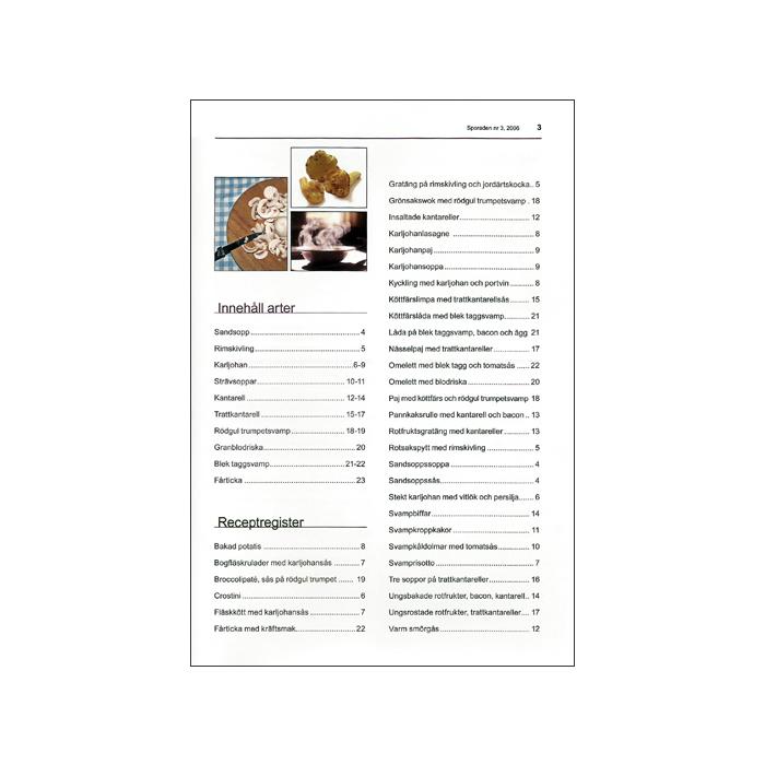 Recept-Sporaden nr 1, innehållsförteckning