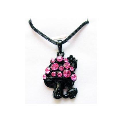 Svart svamphalsband med rosa stenar