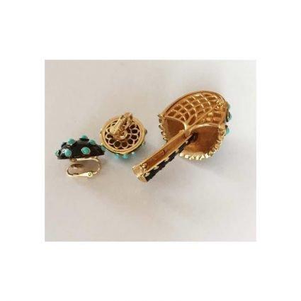 Brosch och clips, Crown Trifari, baksida