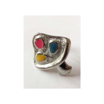 Ring, silverfärg med tre färger
