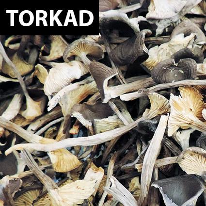Fläckkantarell torkad till matlagning. Plockad i Sverige. Livsmedelsgodkänd förpackning.
