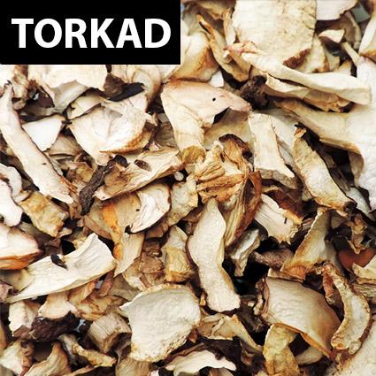 Rödbrun stensopp torkad till matlagning. Plockad i Sverige. Livsmedelsgodkänd förpackning.