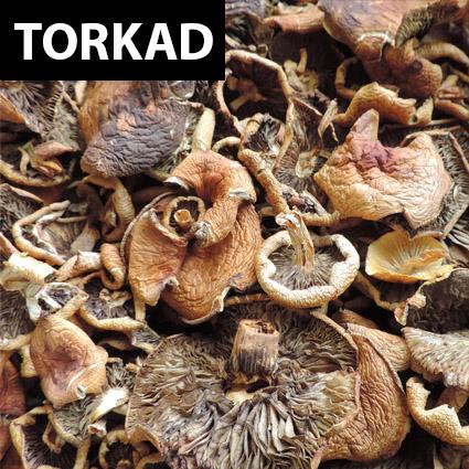 Rökslöjskivning (hattar) torkad till matlagning. Plockad i Sverige. Livsmedelsgodkänd förpackning.