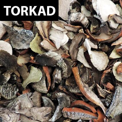 Tegelsopp torkad till matlagning. Plockad i Sverige. Livsmedelsgodkänd förpackning.