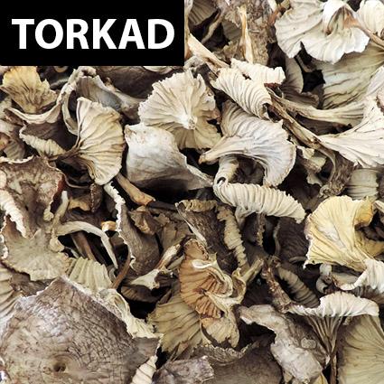Trattkantarell torkad till matlagning. Plockad i Sverige. Livsmedelsgodkänd förpackning.